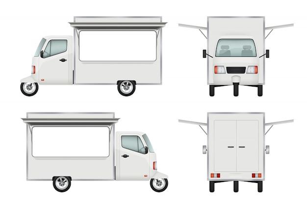 Food truck realistico. servizio di catering 3d s per la finestra del camion aperto per il trasporto di moto in consegna fast food