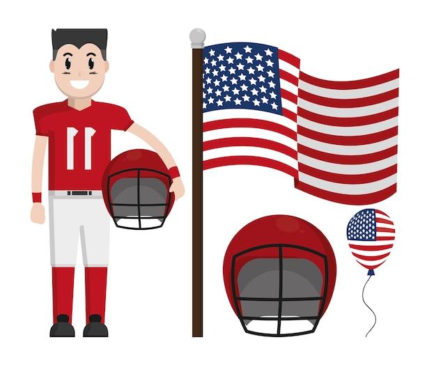 Football americano con bandiera usa e casco