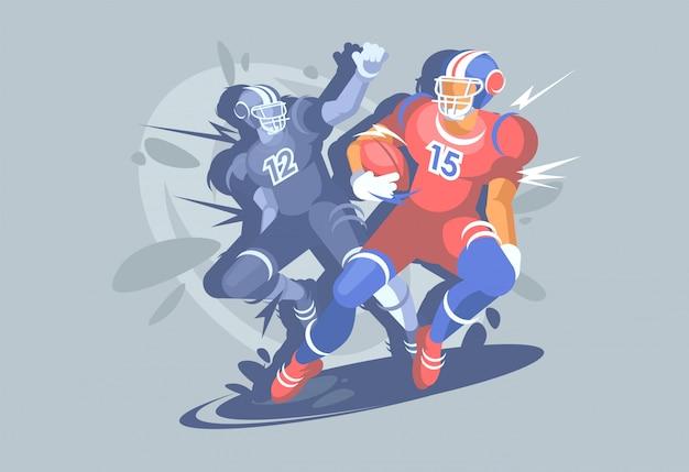 Football americano, evento sportivo, un calciatore prende la palla.