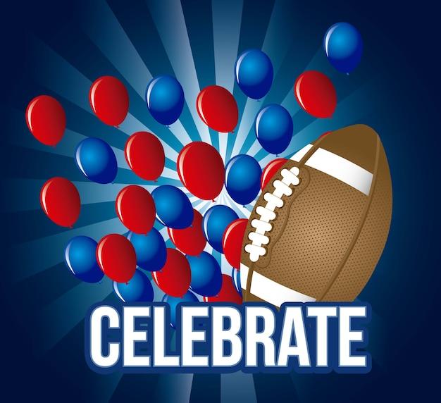 Football americano sopra illustrazione vettoriale sfondo blu