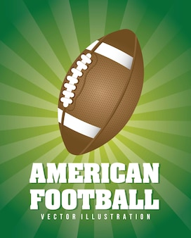 Football americano sopra illustrazione vettoriale sfondo verde