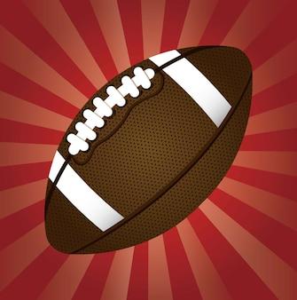 Football americano sopra l'illustrazione rossa di vettore del fondo