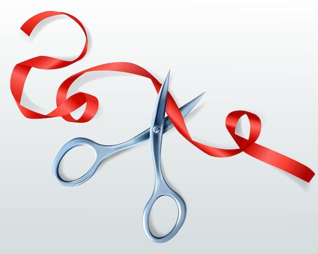 Forbici che tagliano l'illustrazione rossa del nastro per la cerimonia di premiazione o la celebrazione di inaugurazione