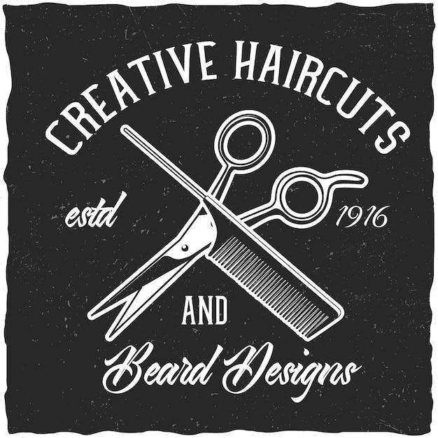 Forbici da barbiere e design a pennello