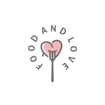 Forcella e cuore per cibo e amore logo design ispirazione