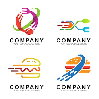 Forchetta cucchiaio e logo burger design per ristorante / azienda alimentare