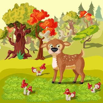 Forest deer cartoon style illustration
