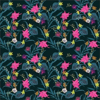 Foresta botanica di notte scura di estate. fioritura esotica molti tipi di illustrazione dei fiori. modello di piante floreali senza giunte di vettore design per tessuto, web, moda e tutte le stampe
