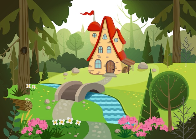 Foresta da favola con una casa e un ponte sul fiume. casa circondata da alberi e fiume. illustrazione.