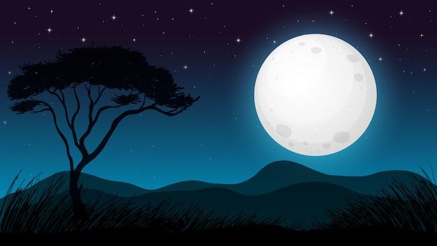 Foresta della savana nella notte oscura