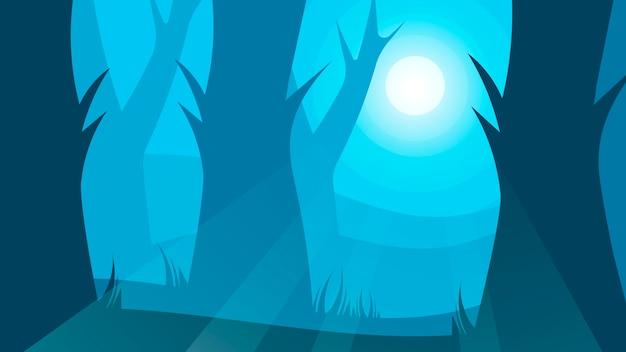 Foresta densa dell'illustrazione naturale del fumetto del paesaggio