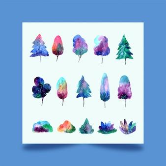 Foresta di alberi ad acquerello