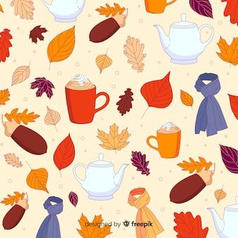 Foresta di autunno disegnato a mano lascia il fondo