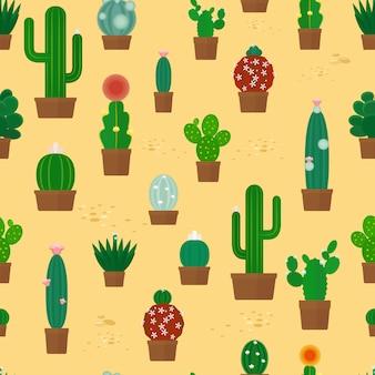Foresta di cactus senza soluzione di continuità sul modello di sabbia gialla