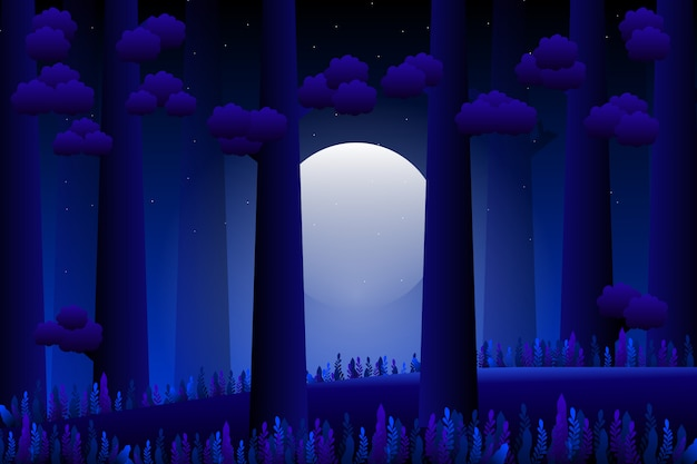 Foresta di notte di paesaggio con luna piena e giardino di fantasia