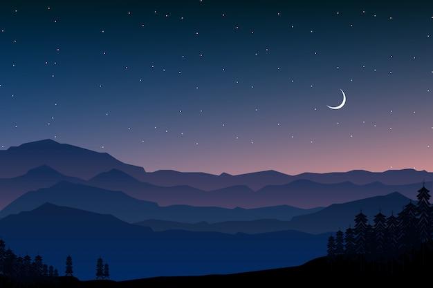Foresta di notte e illustrazione del paesaggio montano