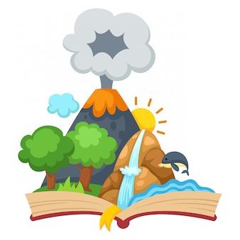 Foresta e montagna con libro aperto