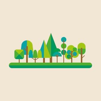 Foresta in stile piatto. illustrazione vettoriale