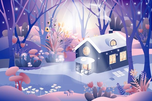 Foresta magica di fantasia con cottage di fiaba