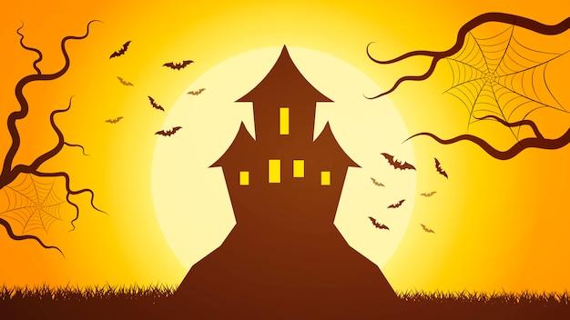 Foresta scura spaventosa con il castello nel mezzo