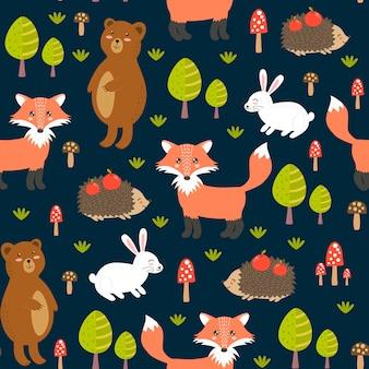 Foresta seamless con simpatici animali