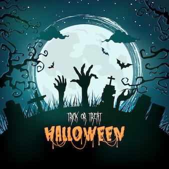 Foresta spettrale di halloween di notte