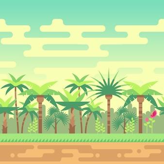 Foresta tropicale di estate senza cuciture del paesaggio, illustrazione di vettore del paesaggio della natura per i giochi di computer.