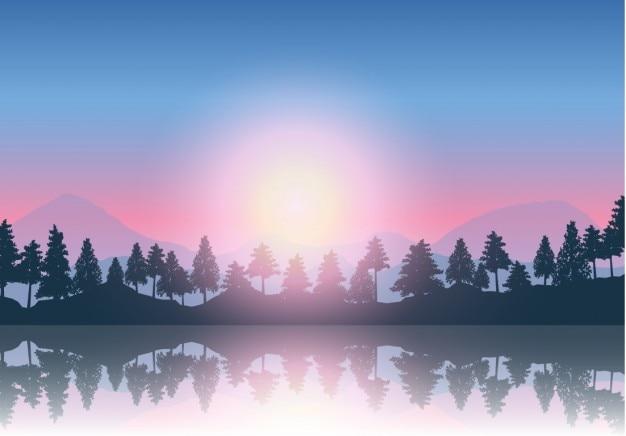 Foresta vicino lo sfondo del lago
