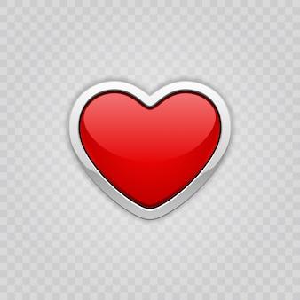 Forma brillante rossa del cuore isolata sull'illustrazione della trasparenza