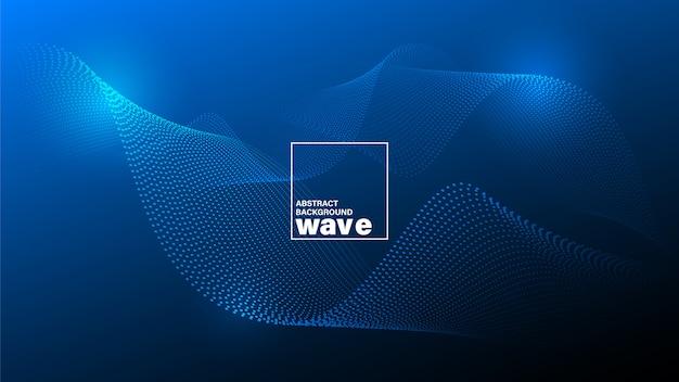Forma d'onda incandescente astratta su sfondo blu scuro.