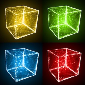 Forma del cubo con linee astratte
