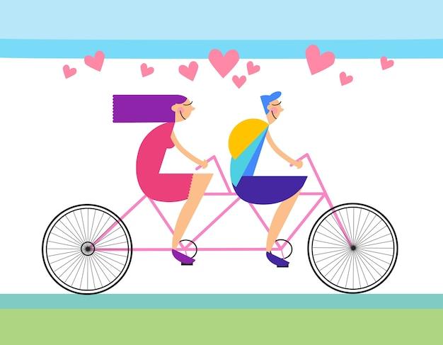 Forma del cuore della bicicletta in tandem di giro di amore delle coppie