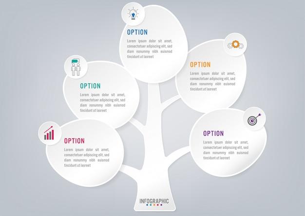 Forma di alberi infographic di affari