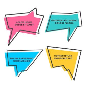 Forma di citazioni e casella di discorso isolato su sfondo bianco