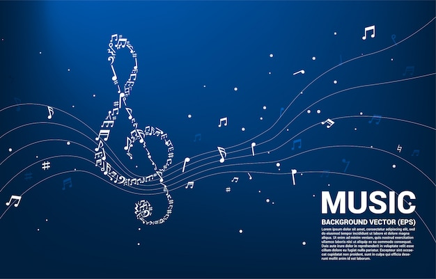 Forma di nota chiave sol con flusso danzante di note musicali