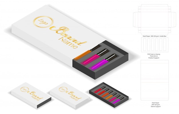 Forma di scatola di cartone per il pacchetto di rossetti dieline