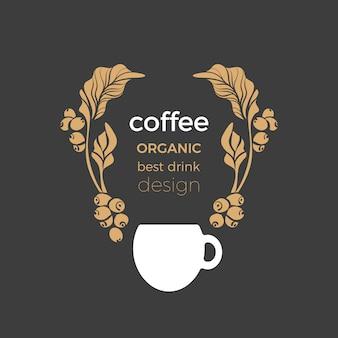 Forma dorata di vettore dell'albero di caffè, tazza bianca. bevanda aromatica
