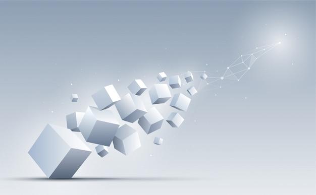 Forma geometrica astratta e collegamento con cubi 3d sullo sfondo.