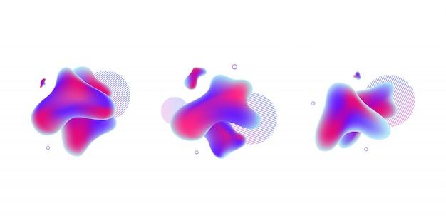 Forma geometrica astratta fluida blu, viola e rossa sfumata per sito web moderno e grafica liquida su sfondo bianco.