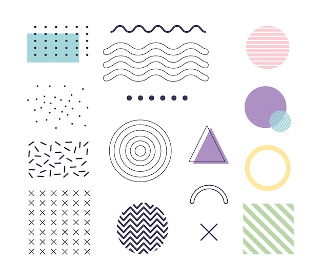 Forma geometrica di elementi di design memphis anni '80 stile anni '90 astratto bianco