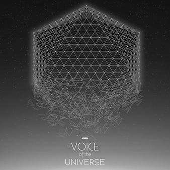 Forma geometrica in scala di grigi dello spazio di schianto