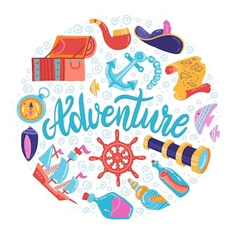 Forma rotonda di simboli sea adventure con scritte. tesoro, ancora, segni del faro