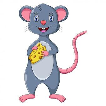 Formaggio sveglio della tenuta del fumetto del topo