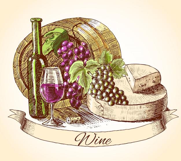 Formaggio vino e pane