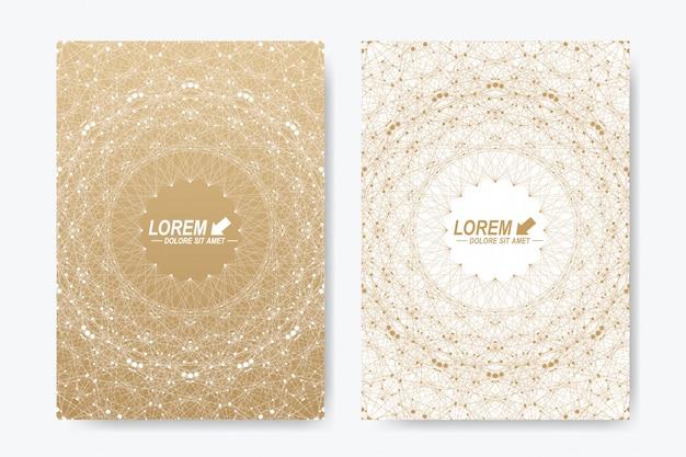 Formato a4. layout del libro di progettazione di affari, scienza, medicina e tecnologia. presentazione astratta. carta d'oro.