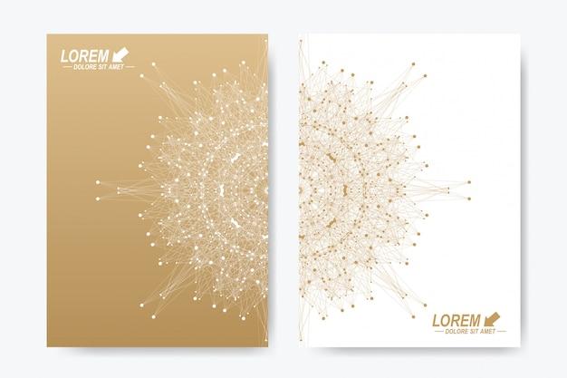 Formato a4. layout del libro di progettazione di affari, scienza, medicina e tecnologia. presentazione astratta con mandala dorata