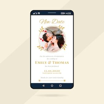 Formato dello schermo dello smartphone per annuncio di matrimonio posposto