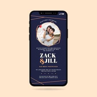 Formato di smartphone di annuncio di matrimonio rinviato