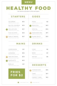 Formato verticale del menu del ristorante di cibo sano