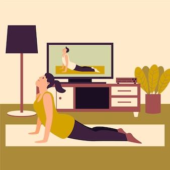 Formazione a casa concetto con la donna